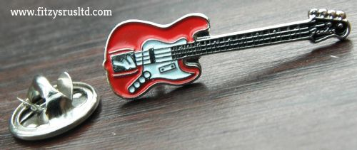 Red Guitar Guitarist Lapel Hat Cap Tie Pin Badge / Brooch Fender Musician Gift